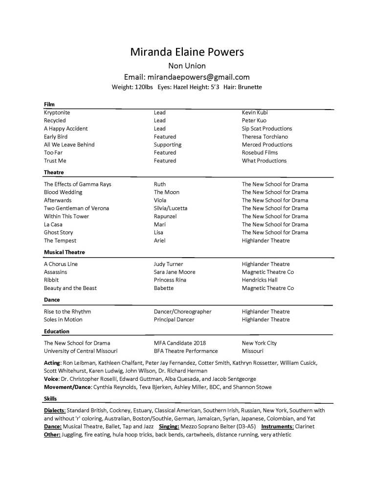 Entertainment Resume Template FungramCo